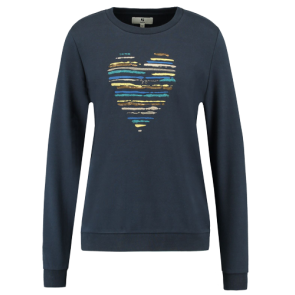 MAJICA DUGA GARCIA SWEATER WITH STRIPED HEART  Blue