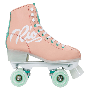 DISCO ROLE RIO ROLLER SCRIPT QUAD SKATES  Peach/Green