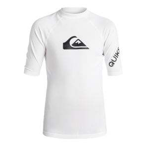 LYCRA QUIKSILVER BOYS 8-16  ALL TIME SHORT SLEEVE RASHGUARD  White