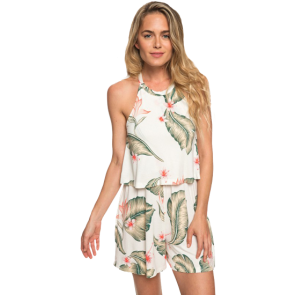 KOMBINEZON ROXY FAVORITE SONG HIGH NECK STRAPPY ROMPER   Marshmallow Tropical Love
