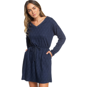 HALJINA ROXY GET HOME LONG SLEEVE V-NECK DRESS  Mood Indigo Free Fallin