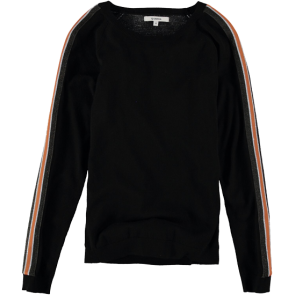 MAJICA DUGA GARCIA BLACK SWEATER WITH SPORTY STRIPES  Black
