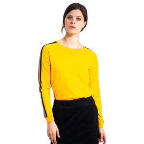 MAJICA DUGA GARCIA YELLOW SWEATER WITH SPORTY STRIPES    Yellow