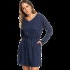 HALJINA ROXY GET HOME LONG SLEEVE V-NECK DRESS